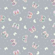 Lewis & Irene - Fairy Nights - 6915 - Butterflies on Blue-Grey  - A406.1 - Cotton Fabric
